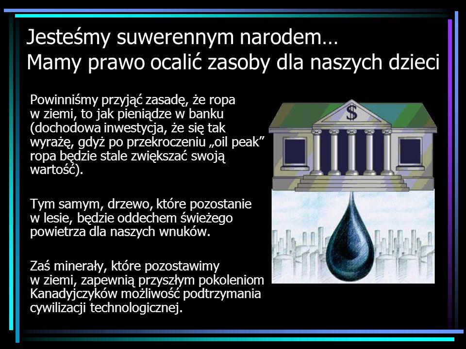 Jesteśmy suwerennym narodem… Mamy prawo ocalić zasoby dla naszych dzieci Powinniśmy przyjąć zasadę, że ropa w ziemi, to jak pieniądze w banku (dochodo