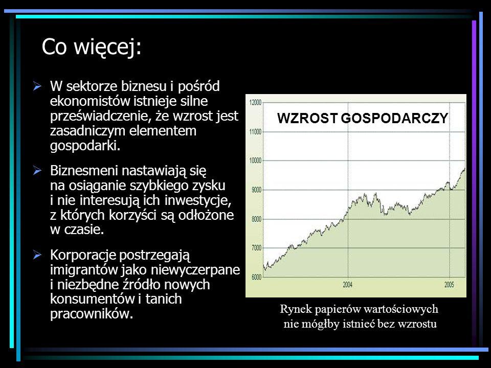 Co więcej: W sektorze biznesu i pośród ekonomistów istnieje silne przeświadczenie, że wzrost jest zasadniczym elementem gospodarki. Biznesmeni nastawi