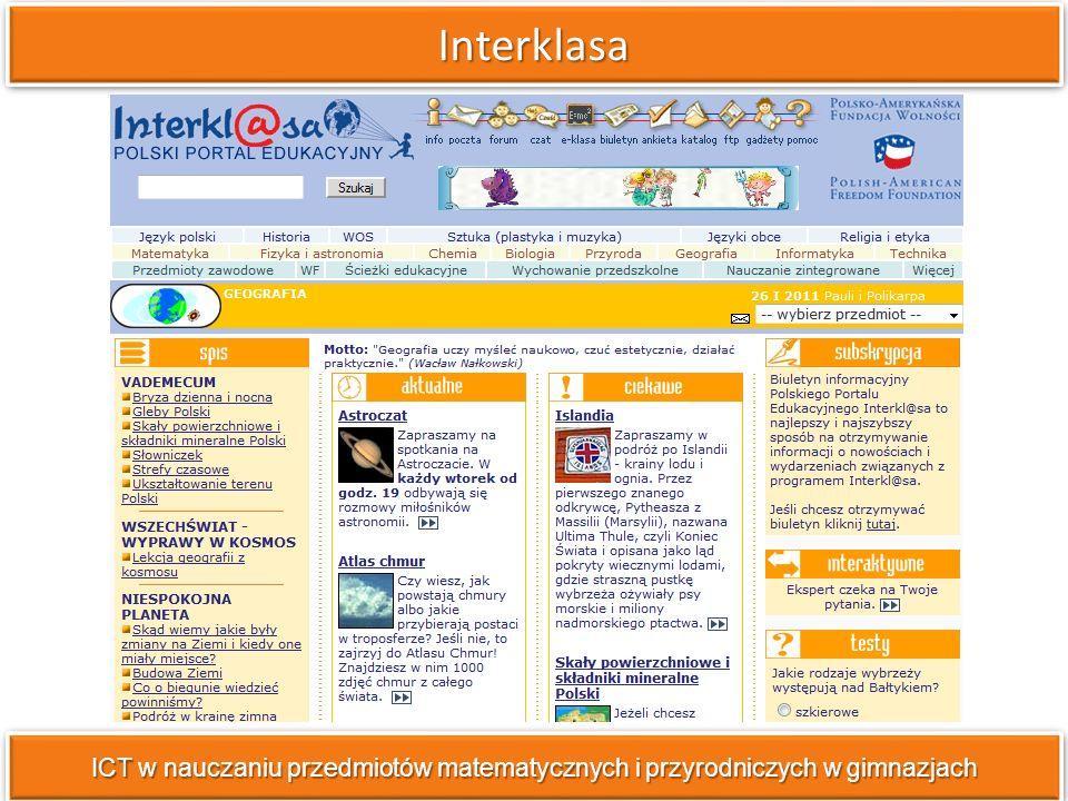 Dane statystyczne ICT w nauczaniu przedmiotów matematycznych i przyrodniczych w gimnazjach