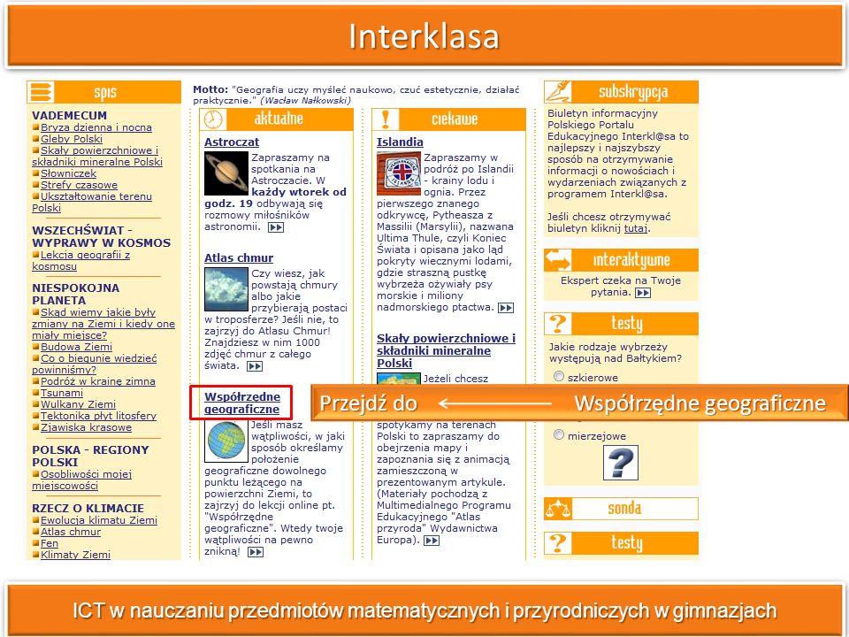ICT w nauczaniu przedmiotów matematycznych i przyrodniczych w gimnazjach Wybierz pole tematyczne Pogoda poziom podstawowy.