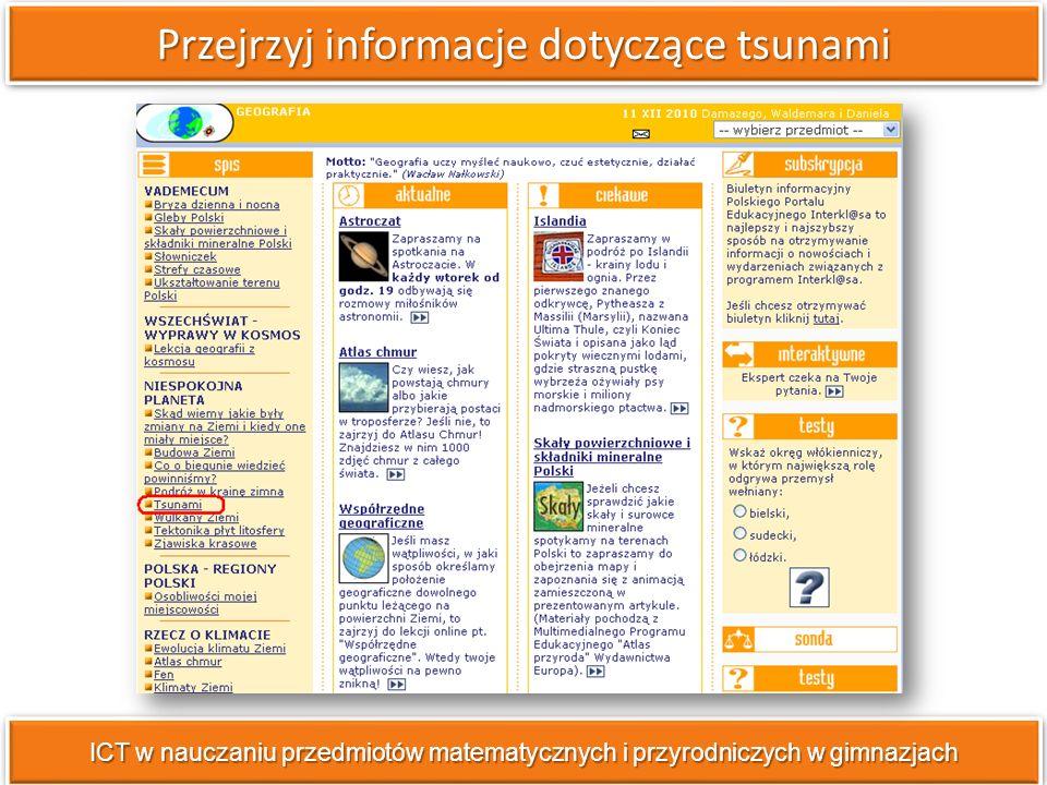 Przejrzyj informacje dotyczące tsunami ICT w nauczaniu przedmiotów matematycznych i przyrodniczych w gimnazjach