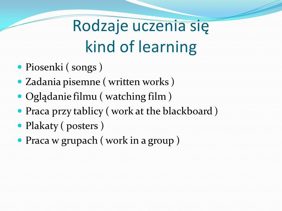 Rodzaje uczenia się kind of learning Piosenki ( songs ) Zadania pisemne ( written works ) Oglądanie filmu ( watching film ) Praca przy tablicy ( work