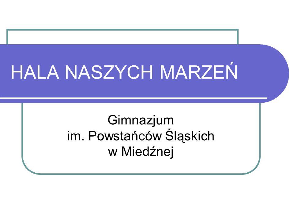 HALA NASZYCH MARZEŃ Gimnazjum im. Powstańców Śląskich w Miedźnej