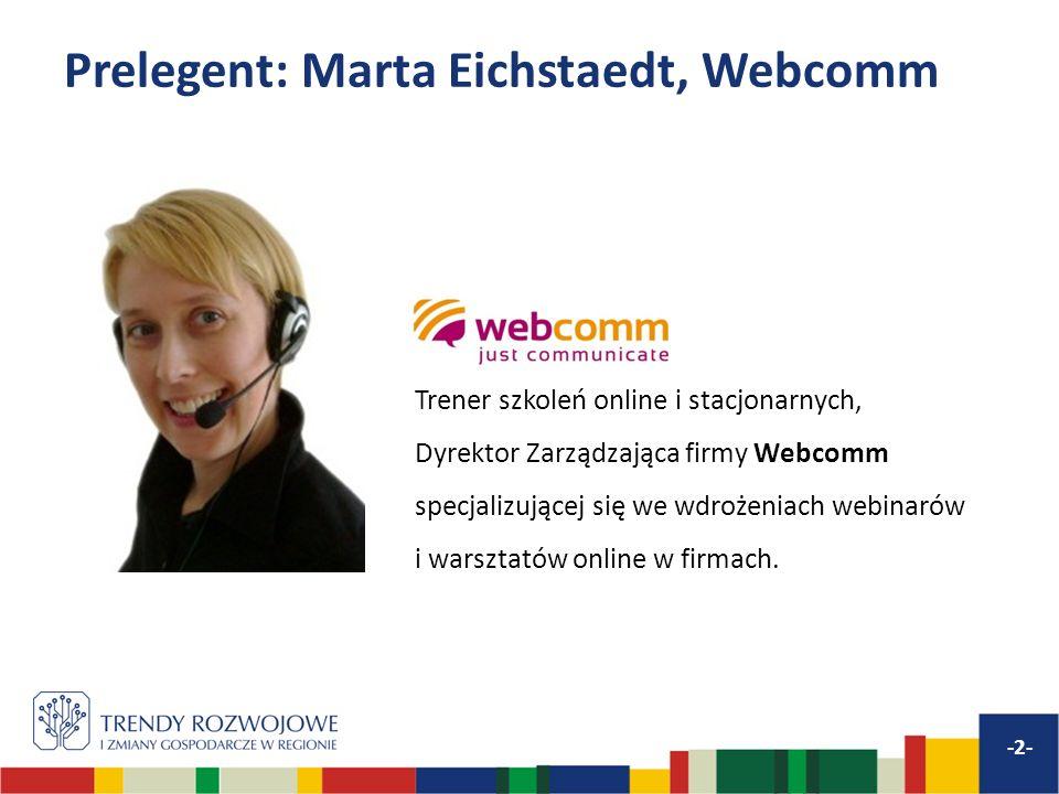 Prelegent: Marta Eichstaedt, Webcomm -2- Trener szkoleń online i stacjonarnych, Dyrektor Zarządzająca firmy Webcomm specjalizującej się we wdrożeniach webinarów i warsztatów online w firmach.