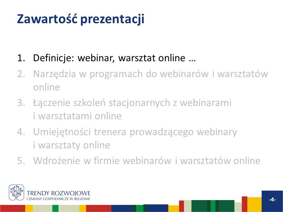 Wdrożenie webinarów i warsztatów online w firmie wymaga przygotowań … -25- Więcej na blogu: www.webcomm.eu/blog Szkoleń dla trenerów – jak uczyć tą metodą Szkoleń dla uczestników – jak się uczyć tą metodą Technika Odpowiedniego doboru tematów i połączenia szkoleń online z stacjonarnymi