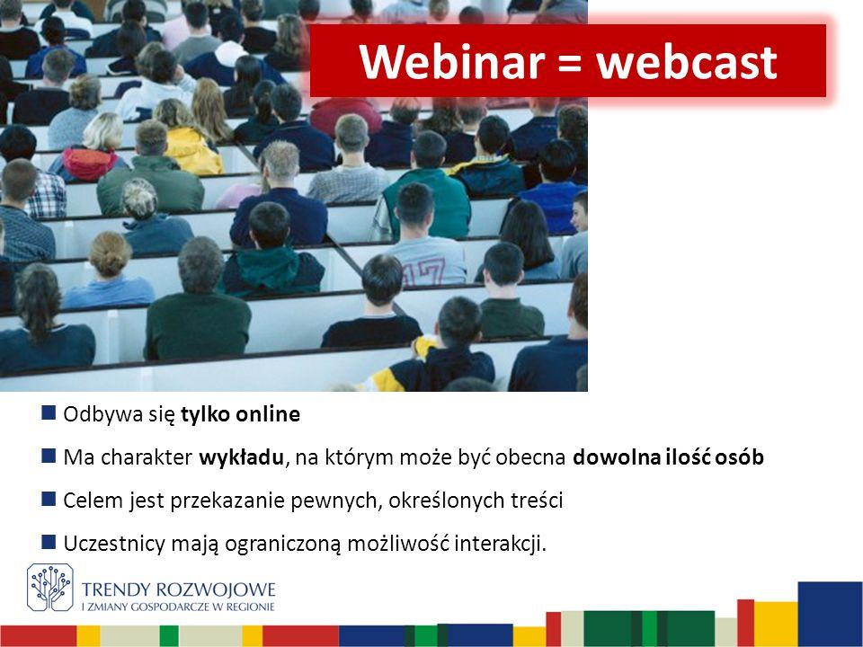 Odbywa się tylko online Ma charakter wykładu, na którym może być obecna dowolna ilość osób Celem jest przekazanie pewnych, określonych treści Uczestnicy mają ograniczoną możliwość interakcji.