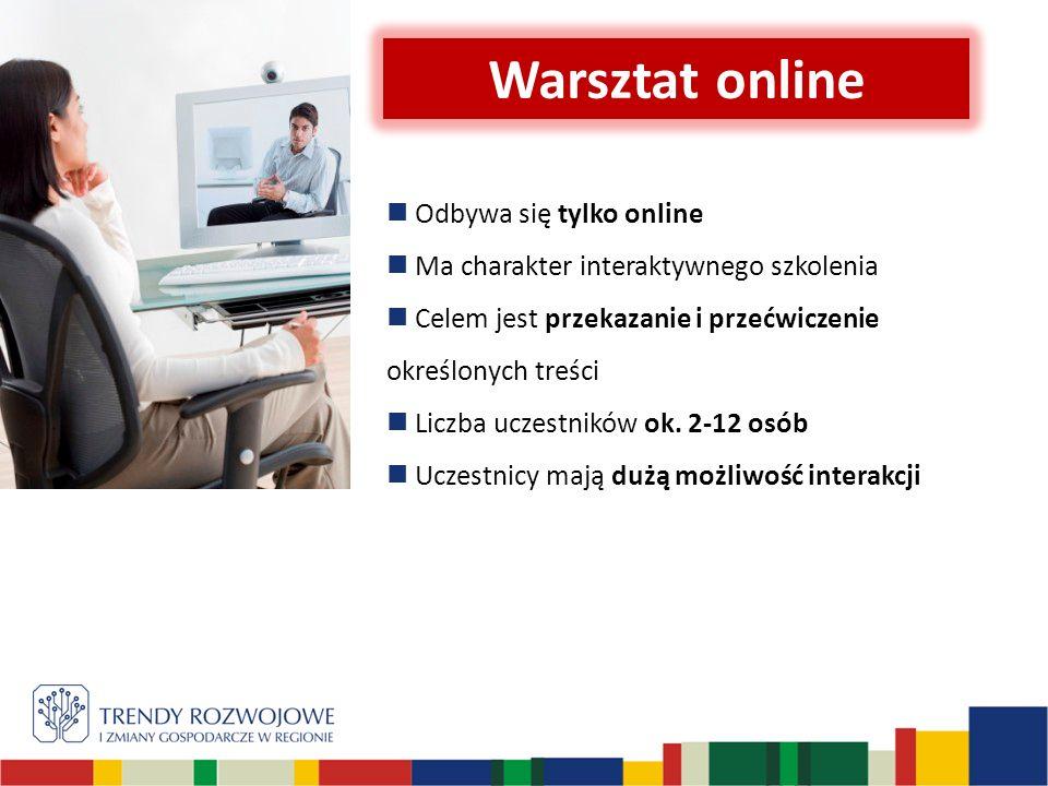 Opcja pracy tylko online Warsztat onlineWebinar 1.