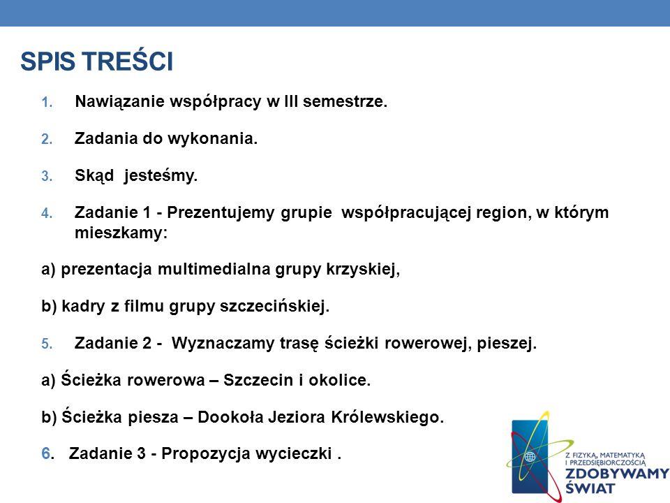 SPIS TREŚCI 1. Nawiązanie współpracy w III semestrze.