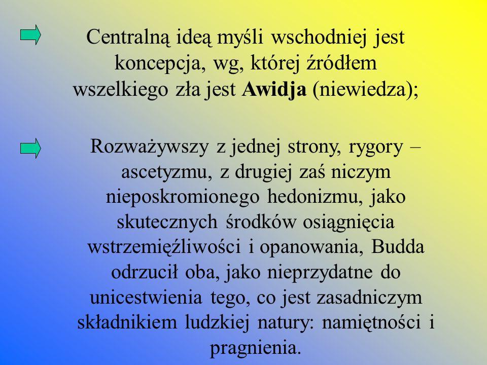 Centralną ideą myśli wschodniej jest koncepcja, wg, której źródłem wszelkiego zła jest Awidja (niewiedza); Rozważywszy z jednej strony, rygory – ascet