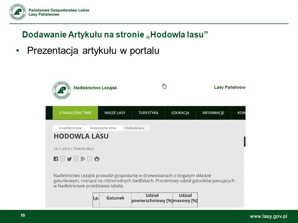 10 Dodawanie Artykułu na stronie Hodowla lasu Prezentacja artykułu w portalu