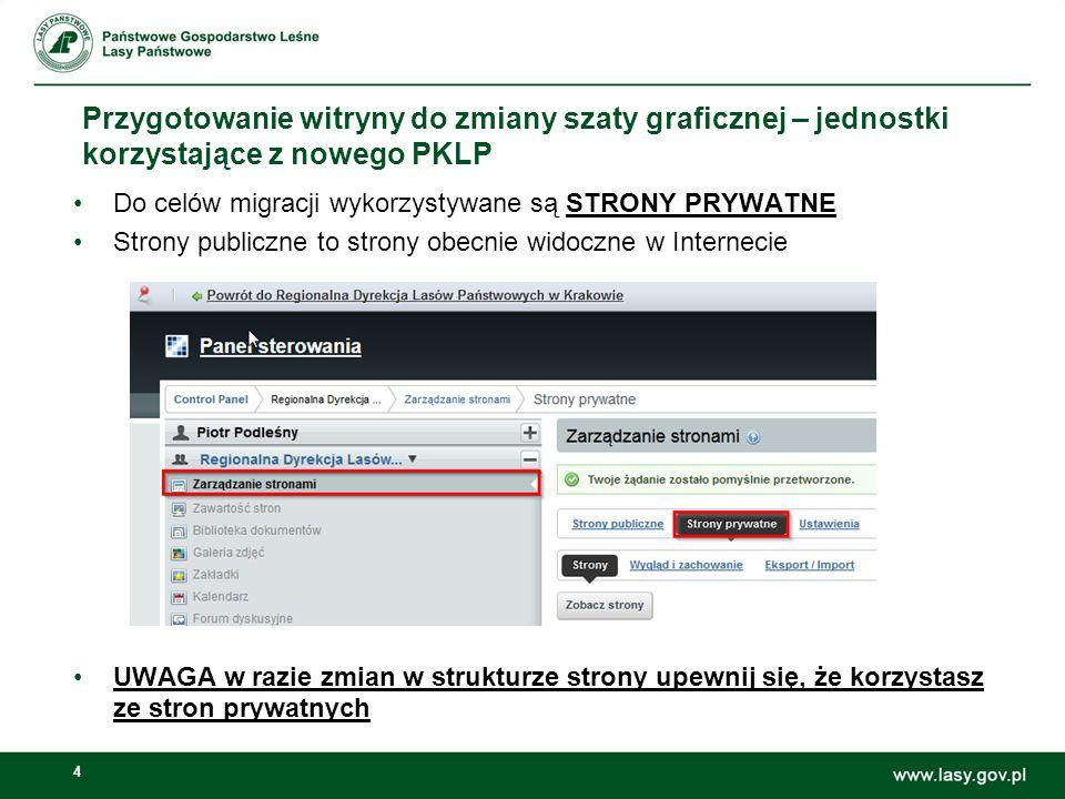 4 Przygotowanie witryny do zmiany szaty graficznej – jednostki korzystające z nowego PKLP Do celów migracji wykorzystywane są STRONY PRYWATNE Strony p