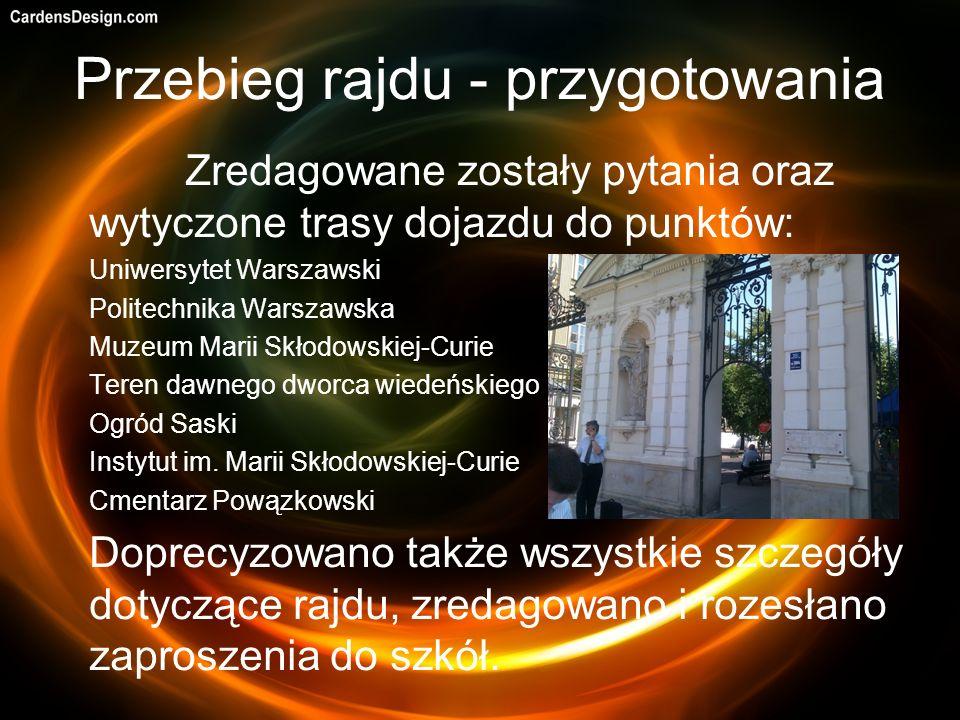 Przebieg rajdu - przygotowania Zredagowane zostały pytania oraz wytyczone trasy dojazdu do punktów: Uniwersytet Warszawski Politechnika Warszawska Muz