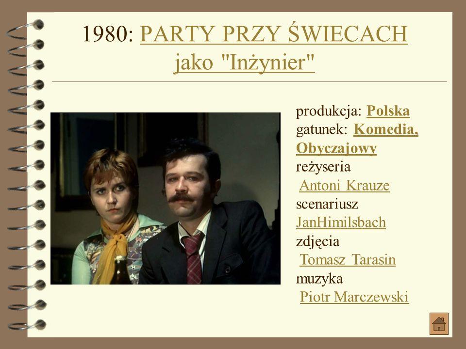 1980: CHAM jako AleksyCHAM produkcja: PolskaPolska gatunek: DramatDramat data premiery: 1980-04-22 (Polska) reżyseria Laco AdamikLaco Adamik scenarius