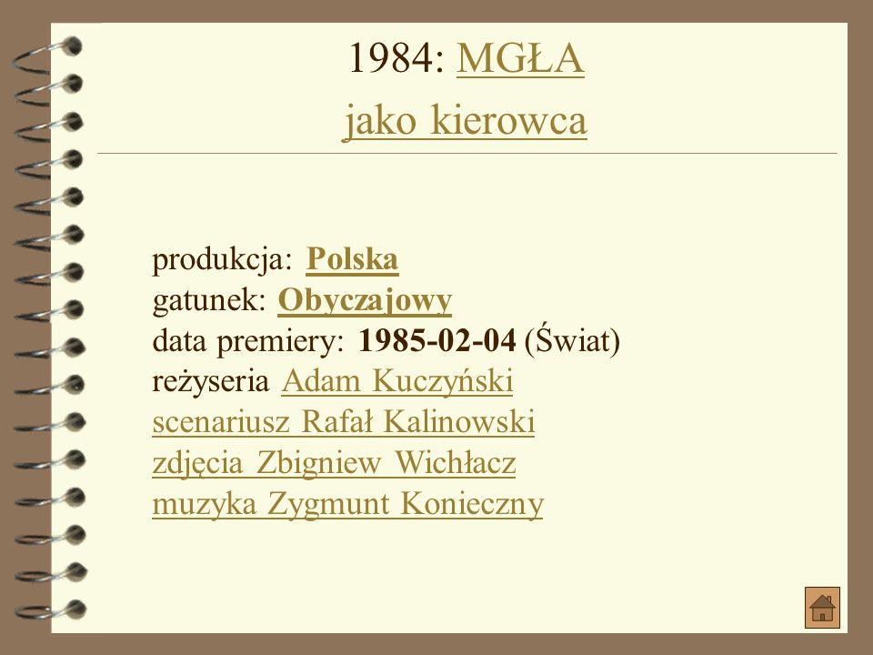 1982: ODWET jako pan młodyODWET produkcja: PolskaPolska gatunek: PsychologicznyPsychologiczny data premiery: 1983-12-21 (Polska) reżyseria Tomasz Zyga