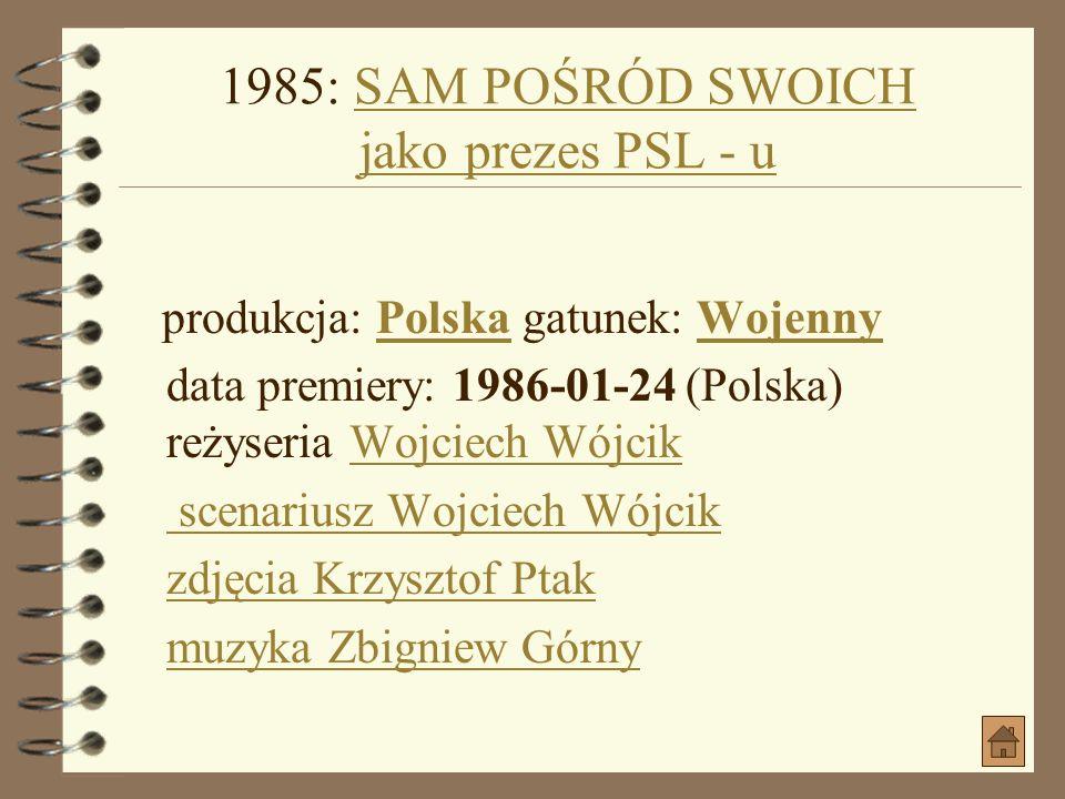 1985: OGNISTY ANIOŁ jako KapelanOGNISTY ANIOŁ jako Kapelan produkcja: PolskaPolska gatunek: Kostiumowy, Psychologiczny, PoetyckiKostiumowy Psychologic