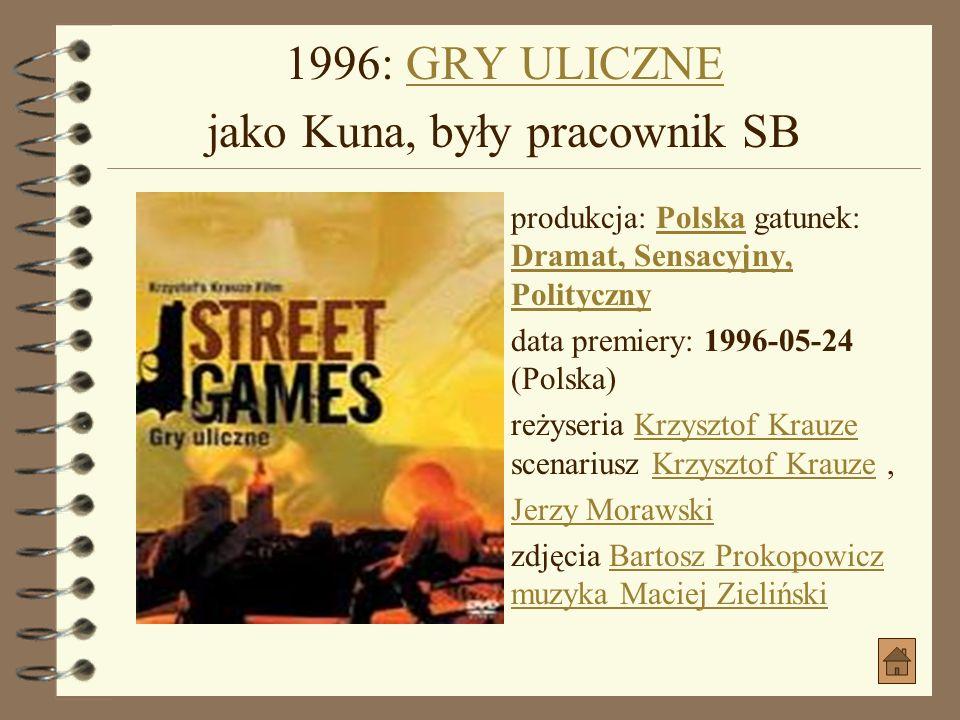 1994: ŚMIERĆ JAK KROMKA CHLEBA jako inżynier naczelny kopalniŚMIERĆ JAK KROMKA CHLEBA jako inżynier naczelny kopalni produkcja: Polska gatunek: Dramat