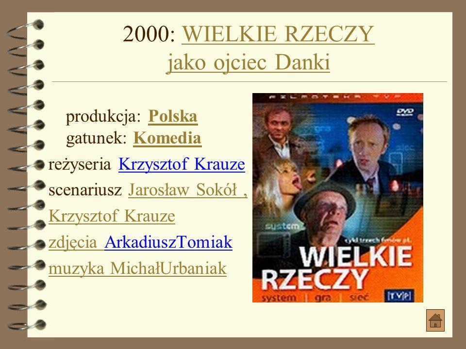 1998: MAŁŻOWINAMAŁŻOWINA produkcja: PolskaPolska gatunek: DramatDramat data premiery: 1999-05-09 (Polska) reżyseria Wojciech SmarzowskiWojciech Smarzo