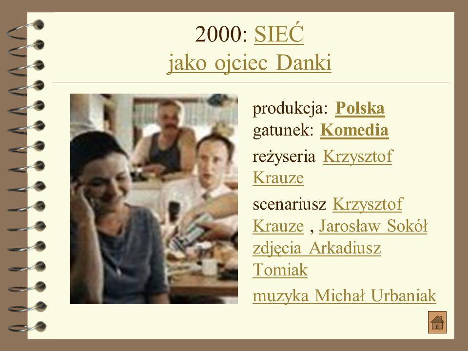 2000: WIELKIE RZECZY jako ojciec DankiWIELKIE RZECZY jako ojciec Danki produkcja: Polska gatunek: KomediaPolskaKomedia reżyseria Krzysztof Krauze scen