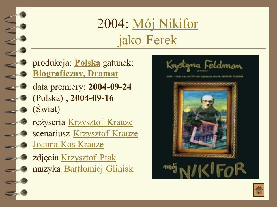 2004: VINCI jako HelmutVINCI produkcja: PolskaPolska gatunek: Komedia kryminalnaKomedia kryminalna data premiery: 2004-09-13 (Polska), 2005-01-30 (Świ