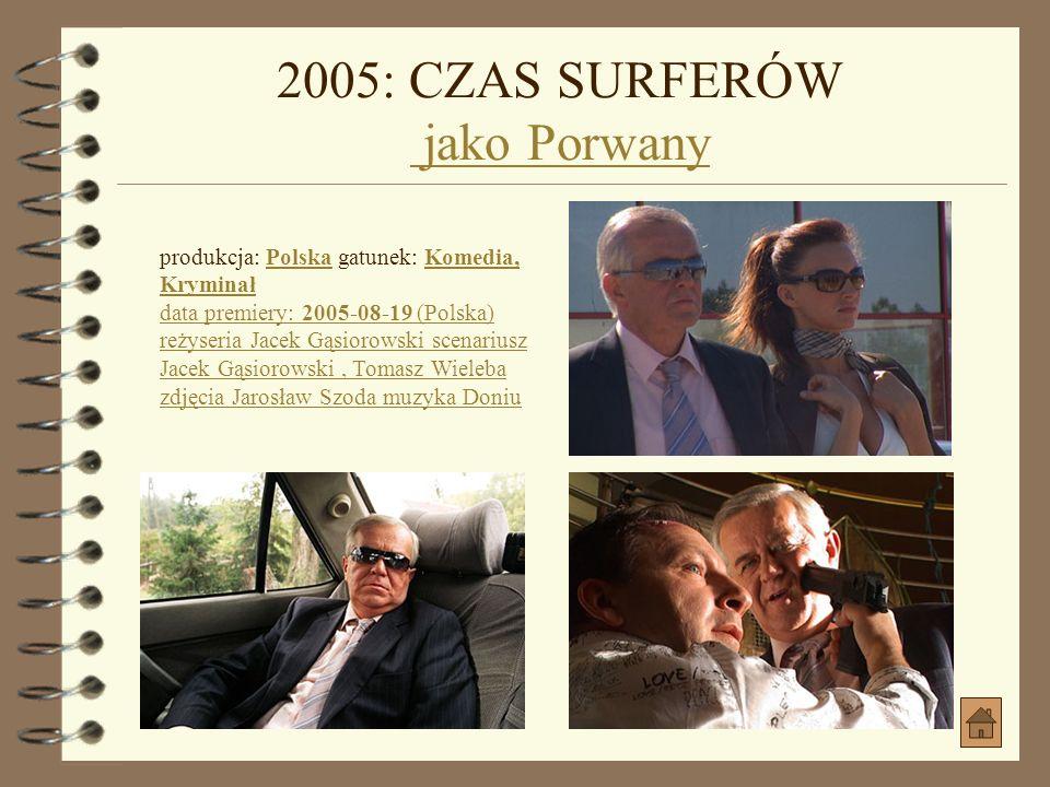 2005: KOMORNIK jako HorstKOMORNIK produkcja: Polska gatunek: DramatPolskaDramat data premiery: 2005-10-07 (Polska) reżyseria Feliks Falk scenariusz Gr