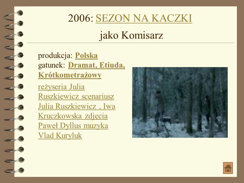 2005: CZAS SURFERÓW jako Porwany jako Porwany produkcja: Polska gatunek: Komedia, KryminałPolskaKomedia, Kryminał data premiery: 2005-08-19 (Polska) r