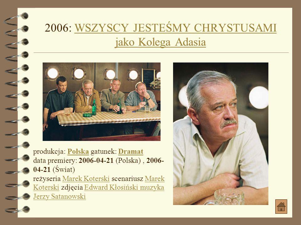 2006: SEZON NA KACZKI jako KomisarzSEZON NA KACZKI produkcja: Polska gatunek: Dramat, Etiuda, KrótkometrażowyPolskaDramat, Etiuda, Krótkometrażowy reż