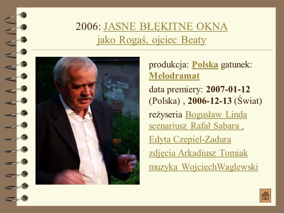 2006: WSZYSCY JESTEŚMY CHRYSTUSAMI jako Kolega AdasiaWSZYSCY JESTEŚMY CHRYSTUSAMI jako Kolega Adasia produkcja: Polska gatunek: DramatPolskaDramat dat