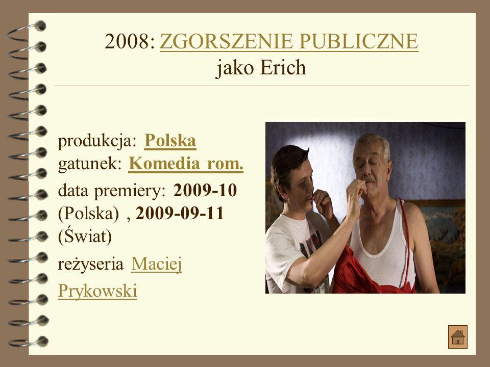 2008: CZEGO NIKT NIE WIECZEGO NIKT NIE WIE produkcja: Polska gatunek: Etiuda, KrótkometrażowyPolskaEtiuda, Krótkometrażowy reżyseria Maciej Prykowski