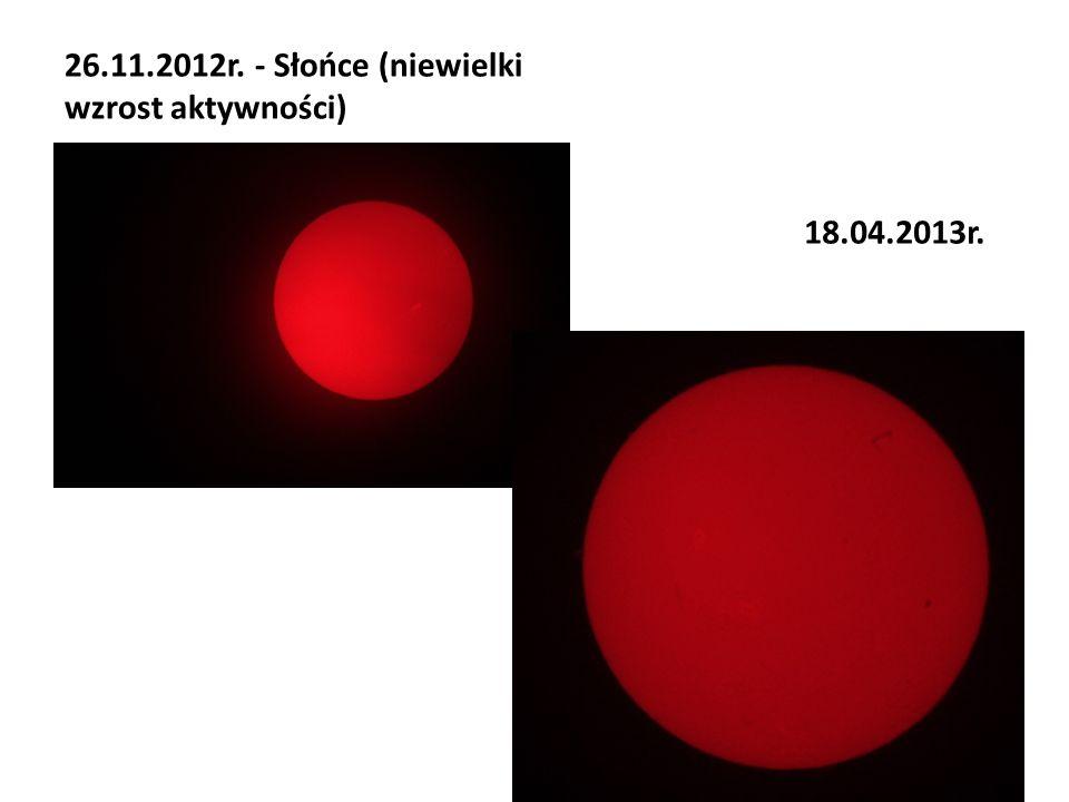 26.11.2012r. - Słońce (niewielki wzrost aktywności) 18.04.2013r.