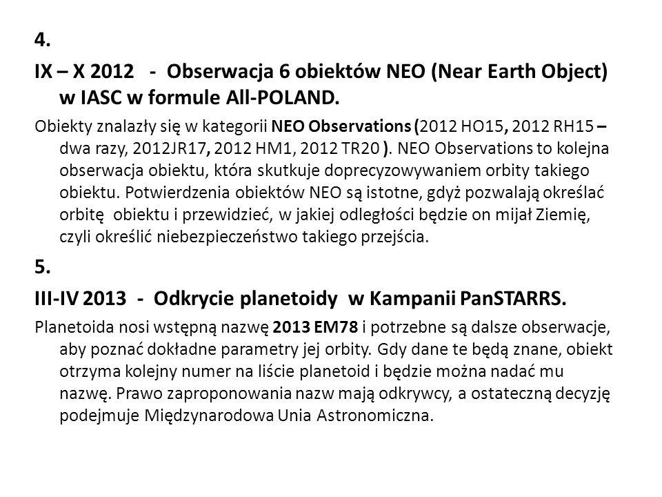 4. IX – X 2012 - Obserwacja 6 obiektów NEO (Near Earth Object) w IASC w formule All-POLAND. Obiekty znalazły się w kategorii NEO Observations (2012 HO