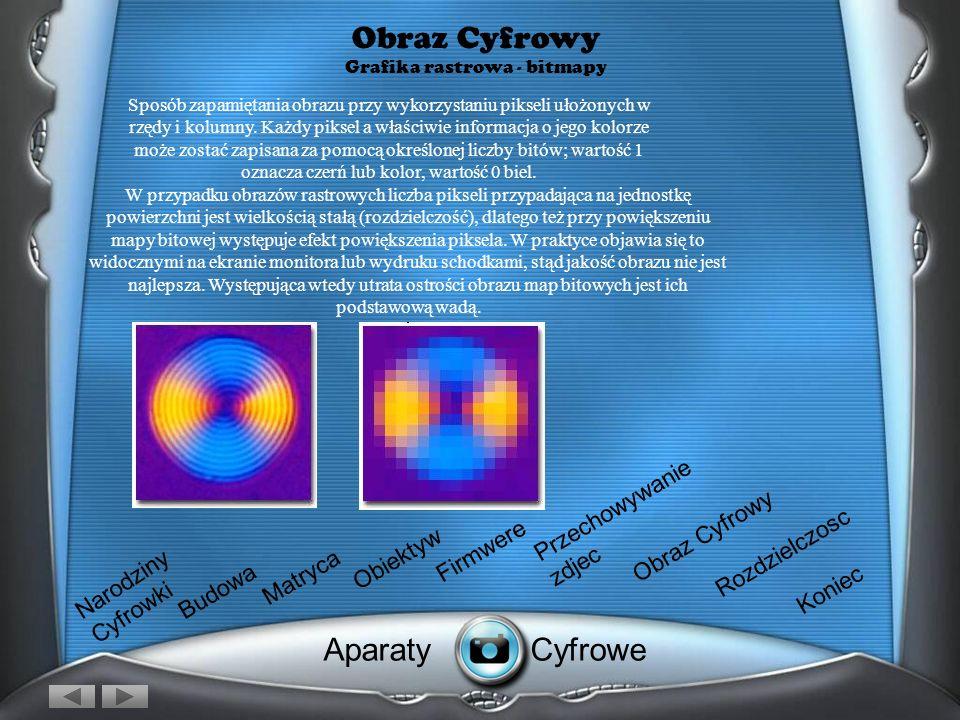 Obraz Cyfrowy Grafika rastrowa Po wykonaniu zdjęcia przez zaparat, obraz zostaje przesłany na komputer który przechowuje go w dwóch podstawowych forma