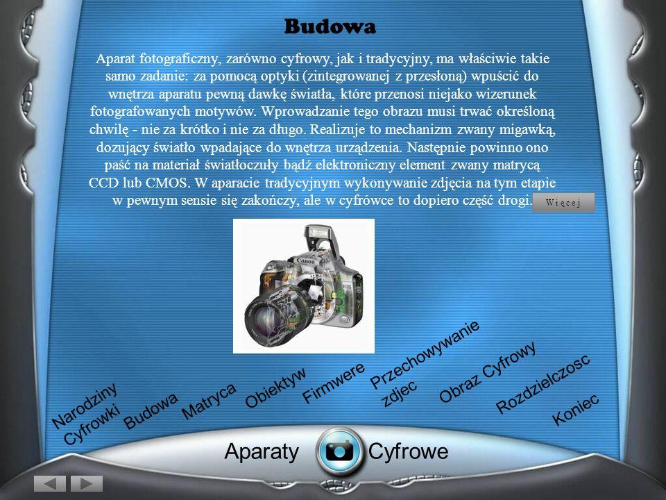 Budowa Aparat fotograficzny, zarówno cyfrowy, jak i tradycyjny, ma właściwie takie samo zadanie: za pomocą optyki (zintegrowanej z przesłoną) wpuścić do wnętrza aparatu pewną dawkę światła, które przenosi niejako wizerunek fotografowanych motywów.