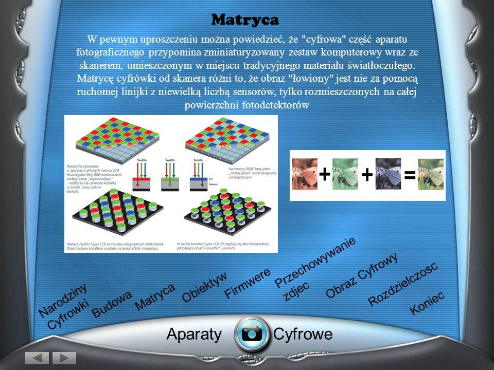 Matryca W pewnym uproszczeniu można powiedzieć, że cyfrowa część aparatu fotograficznego przypomina zminiaturyzowany zestaw komputerowy wraz ze skanerem, umieszczonym w miejscu tradycyjnego materiału światłoczułego.