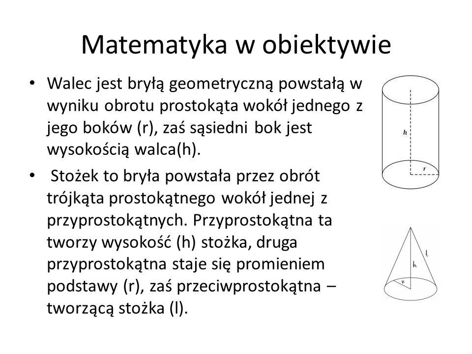 Walec jest bryłą geometryczną powstałą w wyniku obrotu prostokąta wokół jednego z jego boków (r), zaś sąsiedni bok jest wysokością walca(h). Stożek to