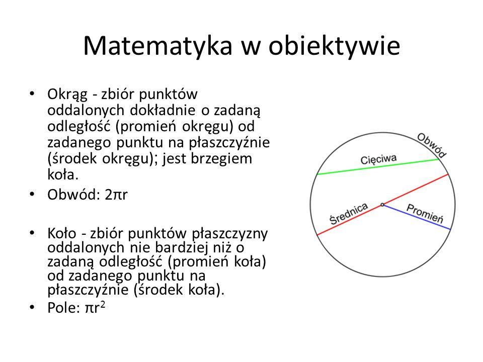 Okrąg - zbiór punktów oddalonych dokładnie o zadaną odległość (promień okręgu) od zadanego punktu na płaszczyźnie (środek okręgu) ; jest brzegiem koła