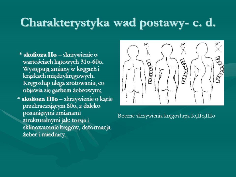 Charakterystyka wad postawy- c. d. * skolioza IIo – skrzywienie o wartościach kątowych 31o-60o.
