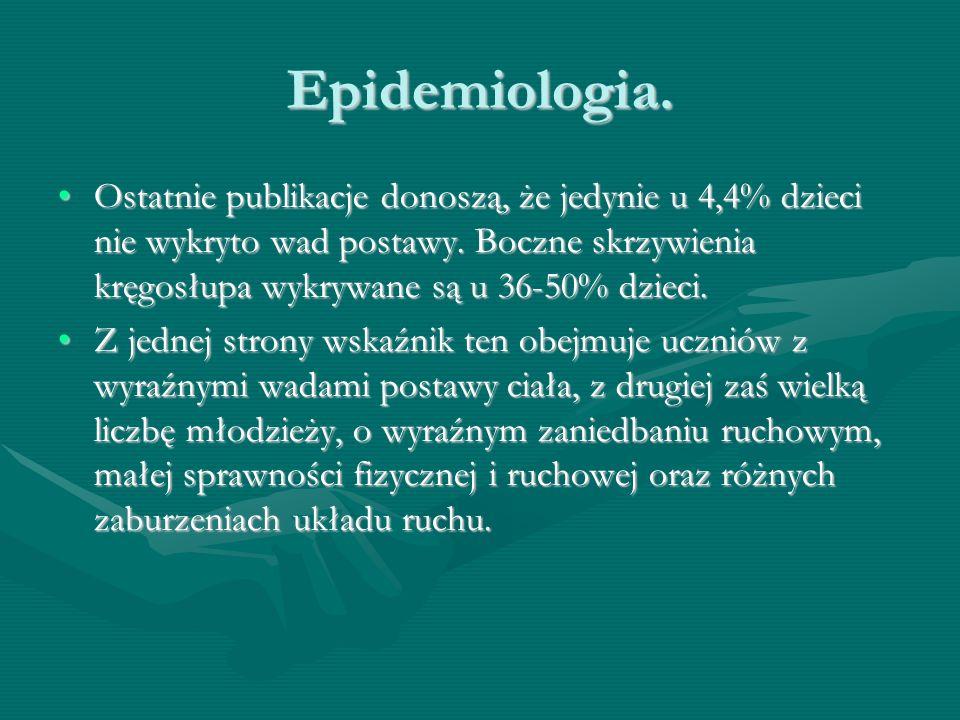 Epidemiologia. Ostatnie publikacje donoszą, że jedynie u 4,4% dzieci nie wykryto wad postawy.