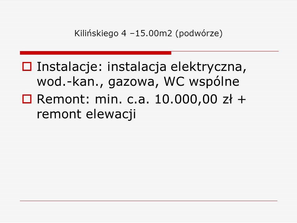 Kilińskiego 4 –15.00m2 (podwórze) Instalacje: instalacja elektryczna, wod.-kan., gazowa, WC wspólne Remont: min. c.a. 10.000,00 zł + remont elewacji