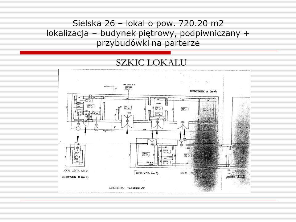 Sielska 26 – lokal o pow. 720.20 m2 lokalizacja – budynek piętrowy, podpiwniczany + przybudówki na parterze SZKIC LOKALU