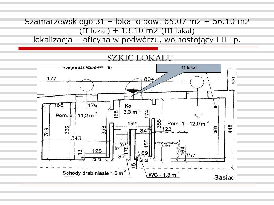 Szamarzewskiego 31 – lokal o pow. 65.07 m2 + 56.10 m2 (II lokal) + 13.10 m2 (III lokal) lokalizacja – oficyna w podwórzu, wolnostojący i III p. SZKIC