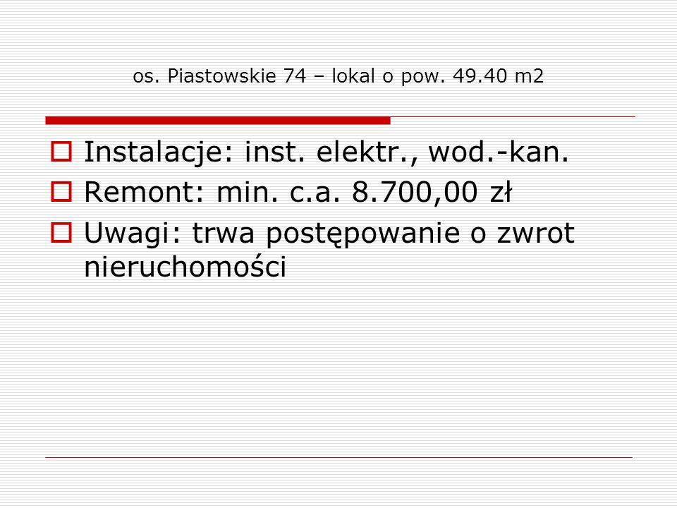 os. Piastowskie 74 – lokal o pow. 49.40 m2 Instalacje: inst. elektr., wod.-kan. Remont: min. c.a. 8.700,00 zł Uwagi: trwa postępowanie o zwrot nieruch