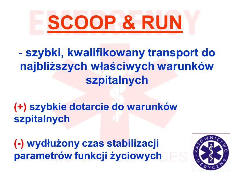 SCOOP & RUN - szybki, kwalifikowany transport do najbliższych właściwych warunków szpitalnych (+) szybkie dotarcie do warunków szpitalnych (-) wydłużony czas stabilizacji parametrów funkcji życiowych