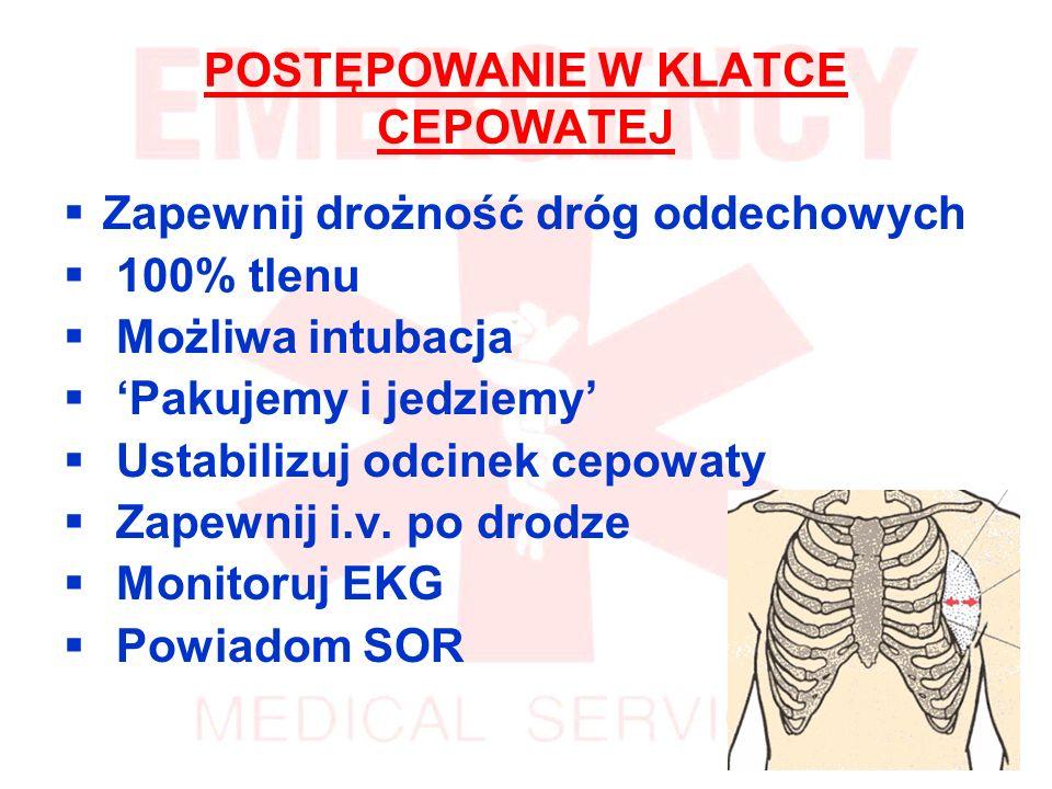 POSTĘPOWANIE W KLATCE CEPOWATEJ Zapewnij drożność dróg oddechowych 100% tlenu Możliwa intubacja Pakujemy i jedziemy Ustabilizuj odcinek cepowaty Zapewnij i.v.