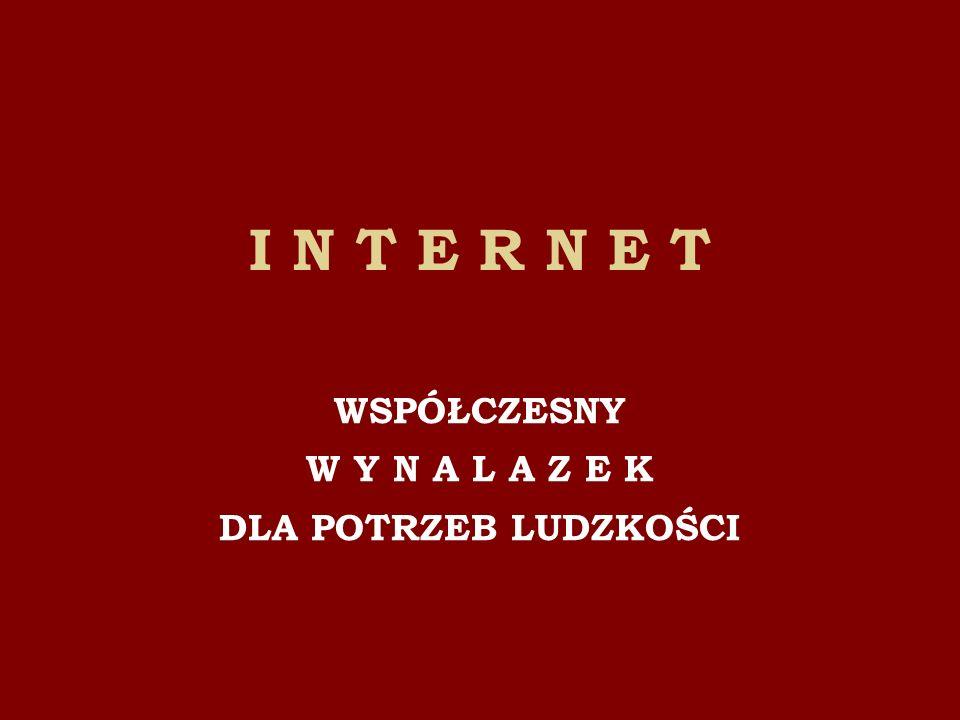 INTERNET jako łączność Sieć telefoniczna została jako pierwsza wykorzystana do przekazywania informacji z komputera do komputera by odczytać ich treść na ekranie monitora.