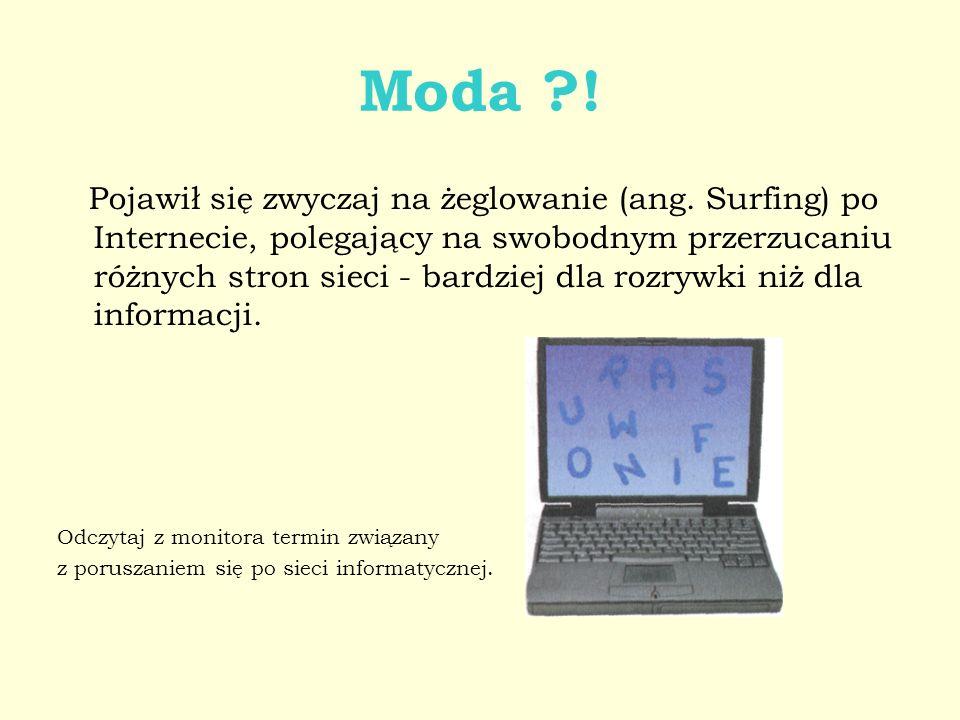 Moda ?! Pojawił się zwyczaj na żeglowanie (ang. Surfing) po Internecie, polegający na swobodnym przerzucaniu różnych stron sieci - bardziej dla rozryw