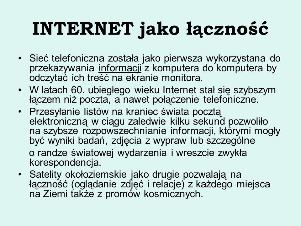 INTERNET jako łączność Sieć telefoniczna została jako pierwsza wykorzystana do przekazywania informacji z komputera do komputera by odczytać ich treść