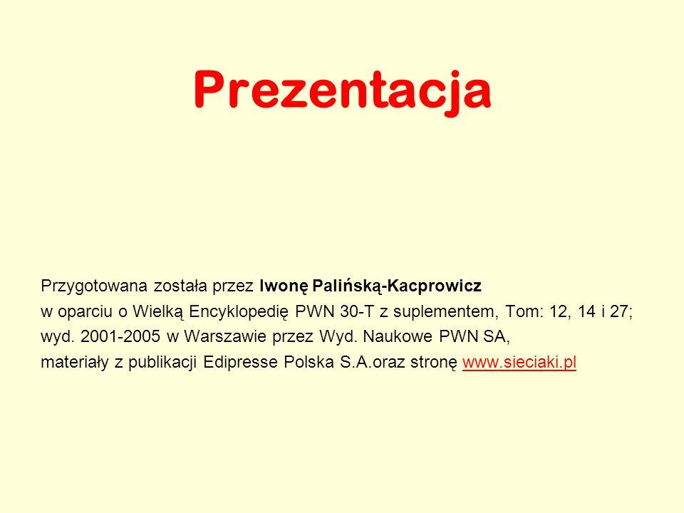 Prezentacja Przygotowana została przez Iwonę Palińską-Kacprowicz w oparciu o Wielką Encyklopedię PWN 30-T z suplementem, Tom: 12, 14 i 27; wyd. 2001-2