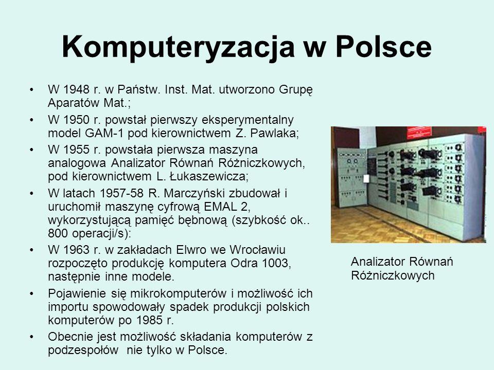 Komputeryzacja w Polsce W 1948 r. w Państw. Inst. Mat. utworzono Grupę Aparatów Mat.; W 1950 r. powstał pierwszy eksperymentalny model GAM-1 pod kiero