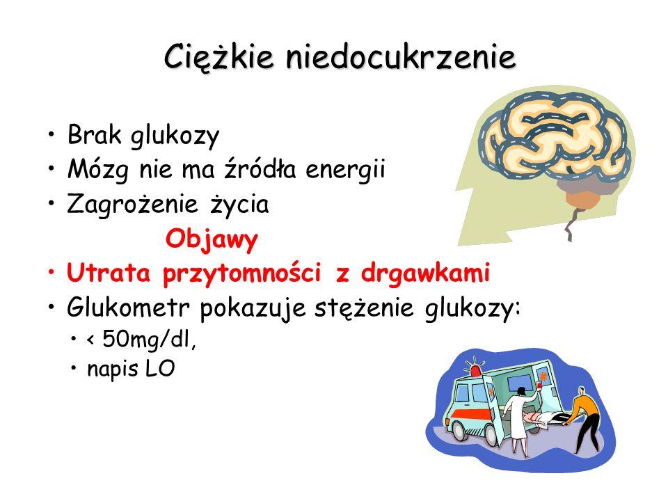Ciężkie niedocukrzenie Brak glukozy Mózg nie ma źródła energii Zagrożenie życia Objawy Utrata przytomności z drgawkami Glukometr pokazuje stężenie glu