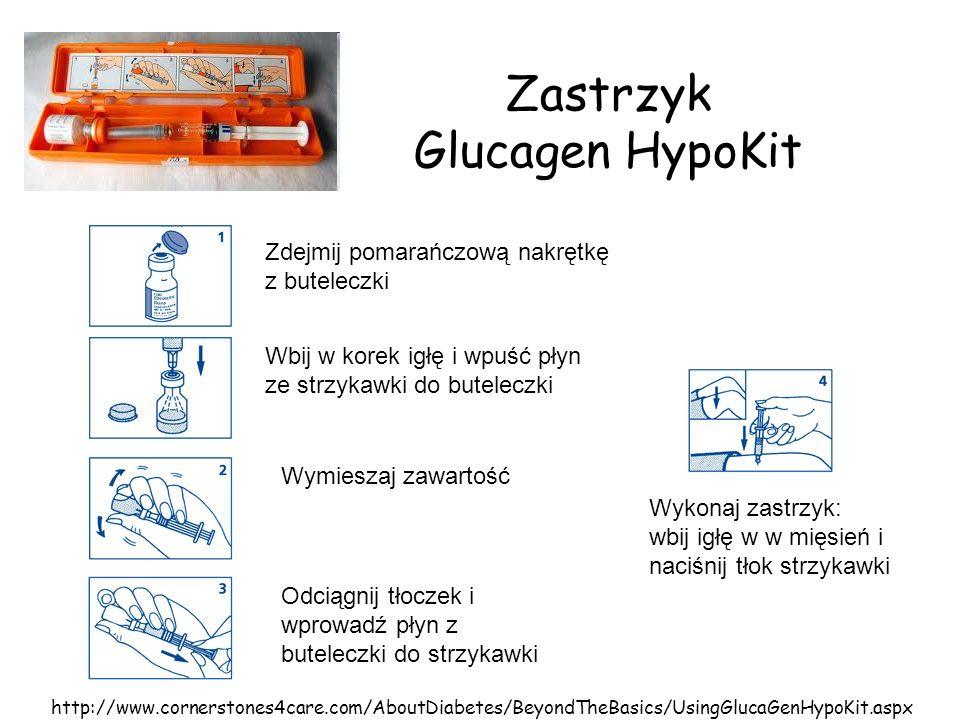 Zastrzyk Glucagen HypoKit Zdejmij pomarańczową nakrętkę z buteleczki Wbij w korek igłę i wpuść płyn ze strzykawki do buteleczki Wymieszaj zawartość Od